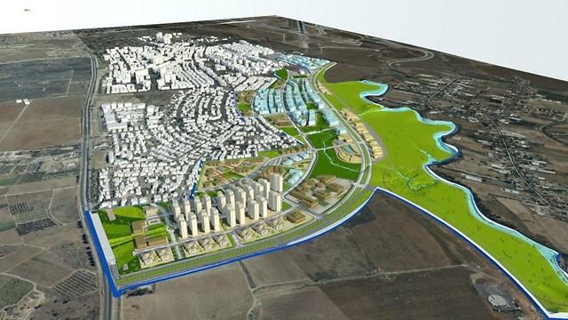 התוכנית באור יהודה. עוד 2,000 יחידות דיור (הדמייה: א.ג. אייזן אדריכלים) (הדמייה: א.ג. אייזן אדריכלים)