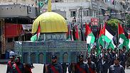 חמאס במפגן כוח בעזה: קורא ליום זעם נוסף בשישי