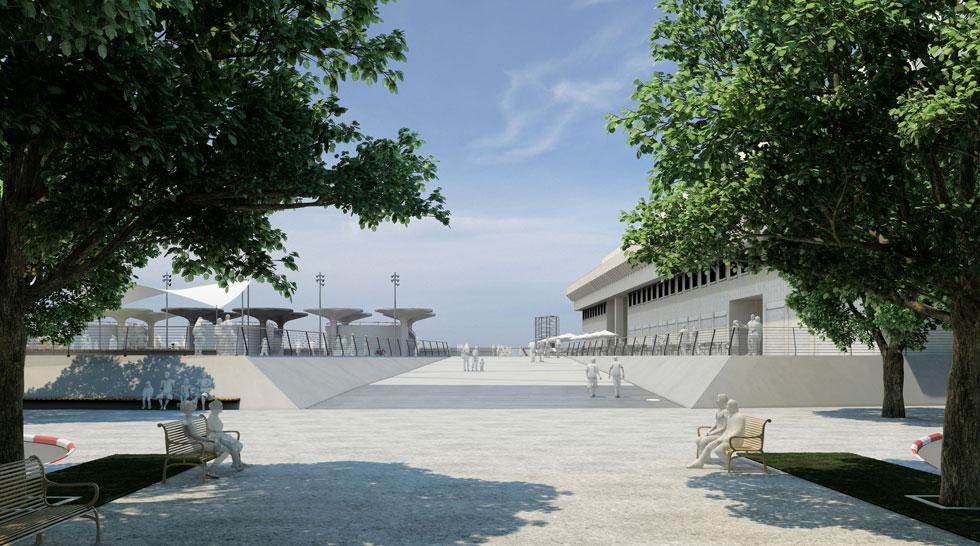 לפני שהעירייה אימצה את תוכנית היזמים, היא יזמה תוכנית משלה לשיקום הכיכר, בהובלת אדריכלית הנוף המוערכת יעל מוריה. 50 מיליון שקל הוקצו לפרויקט - שבוטל (הדמיה: מוריה סקלי. סטודיו נוף ואדריכלות )