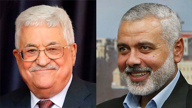 Palestinian President Abbas and Hamas leader Haniyah (Photo: AFP, Reuters)