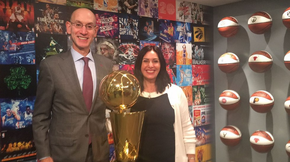 NBA Commissioner Silver (L) and Minister Regev were all smiles during the latter's visit to New York earlier this year (Photo: Culture and Sport Ministry)