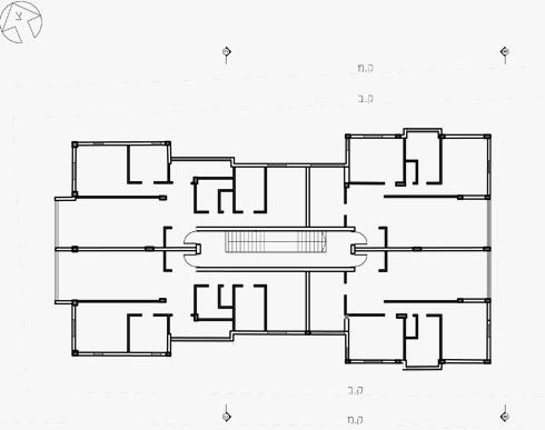 תוכנית של קומה טיפוסית בבניין לפני התמ''א (תכנית: גיל רייך אדריכלות ובינוי ערים)
