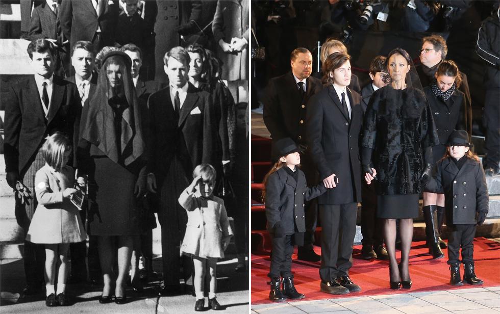 מימין: דיון וילדיה בלוויה של בעלה, משמאל: ג'קי קנדי וילדיה בלוויה של בעלה. כאן סימנה דיון את כוונותיה להפוך לגיבורת סטייל (צילום: Gettyimages)