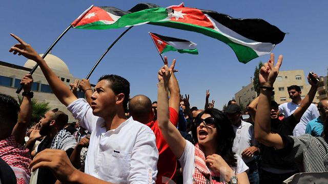 Jordanians protest in front of Israeli Embassy in Amman