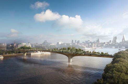 תומס הת'רוויק אימץ את הרעיון ל''גשר הגן'' עתיר הצמחייה בלונדון - פרויקט ראווה חצי-פרטי, שבוטל ברעש רב על ידי ראש העירייה הנוכחי סאדיק קאן (הדמיה: Thomas Heatherwick Studio)