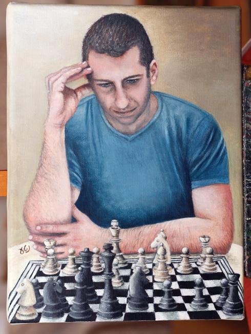 ציור של  נטע שהנציחה את איל משחק שחמט (צילום: גל חרמוני)