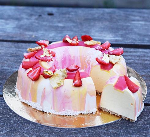 עוגת גלידת מנגו ואננס בציפוי שוקולד לבן (צילום: ערבה שלוש)