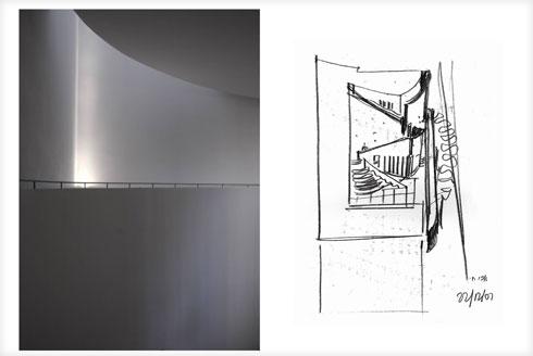 """סקיצה של כרמי-מלמד לבית אבי חי מול תצלום התוצאה (שרטוט: משרד עדה כרמי מלמד אדריכלים בע""""מ, צילום: בר חמא ארדון- ניו אידאה בע""""מ)"""