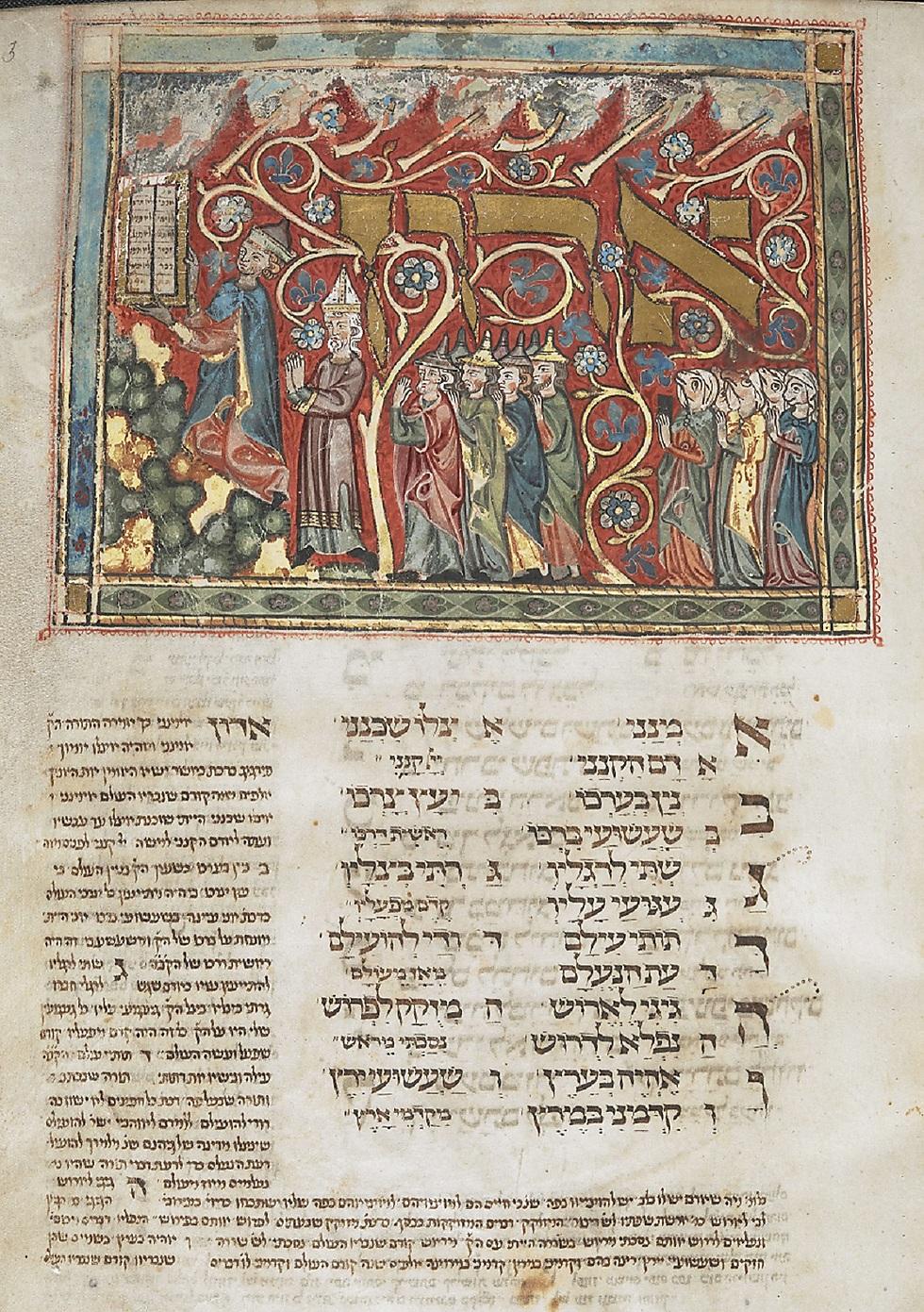 """מחזור תפילה לחג השבועות ולסוכות, גרמניה, סביבות 1322. הוא מכונה לעיתים """"המחזור המשולש"""" כי הוא מחולק לשלושה, וכל אחד מהחלקים נמצא במקום אחר: בספרייה הבריטית, בספריית הבודליאנה ובהונגריה (באדיבות הספרייה הלאומית)"""