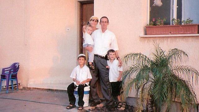 The Bar family outside its home in Gush Katif, before the disengagement (photo courtesy of the family)