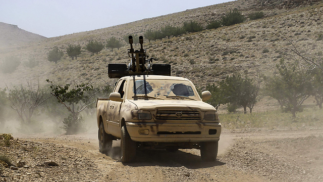 A Hezbollah vehicle in Arsal (Photo: AFP)