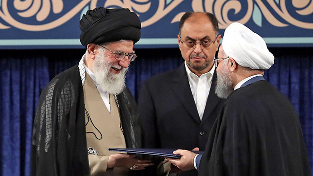 Ali Khamenei during the swearing in of Isranian President Hassan Rouhani (Photo: Reuters)