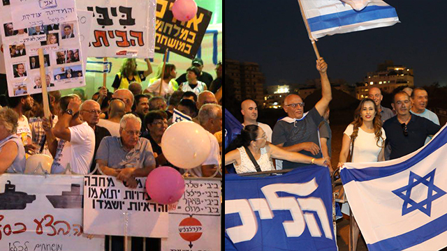 Protesters urging AG to push forward with PM's investigations (L) facing Netanyahu supporters accusing the Left of a launching a coup attempt (Photos: Motti Kimchi)