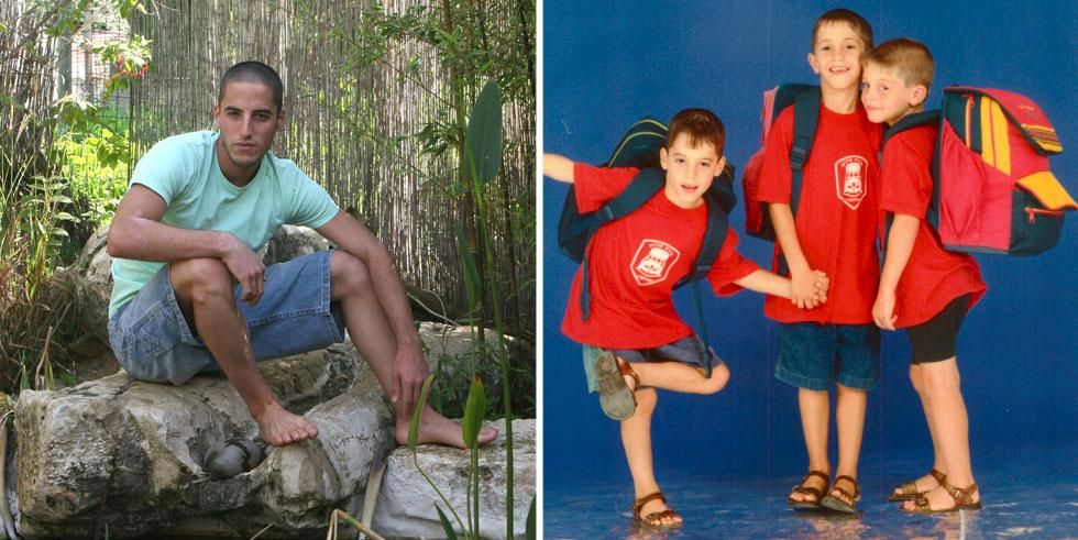 """סתיו בגיל שבע עם אחיו מהשלישייה, עומר וניצן (מימין), ובנעוריו. """"מגיל צעיר אתה מתחרה עם האחים על תשומת לב של ההורים"""" (צילום: ציפי מנשה, צביקה טישלר)"""