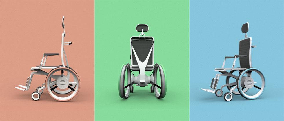 חלקי הכיסא ניתנים לייצור מסיבי ניילון וזכוכית, תרכובת המספקת חוזק מבני בעודה קלה באופן משמעותי ממשקלו של שלד הברזל המוכר. תהליך כזה מוזיל את עלויות הייצור, מאפשר להחליף בקלות חלקים שהתיישנו, ואף לרחוץ את הכיסא (הדמיה: ניסאן אסעד חאיק)