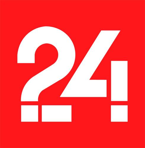 הלוגו הקודם של מוסף 24 של ''ידיעות אחרונות'', שבו משולב סימן שאלה משמאל וסימן קריאה מימין. ''עיתונאים שואלים שאלות ומקבלים תשובות'', הסביר פעם (עיצוב: באדיבות דן ריזינגר)