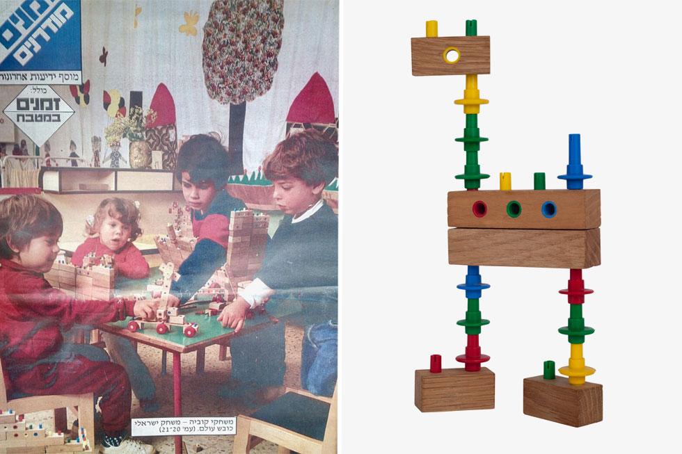 דוגמה למה שאפשר לבנות עם הקוביות (מימין). ''הקוביות שלנו תמיד מתחברות למבנה יציב'', מסביר הרן. ''הן יוצרות אצל הילד תחושת ביטחון''. משמאל שער של מוסף ''זמנים מודרנים'' משנות ה-80, שבו מככבים ילדי המשפחה, כולל הרן