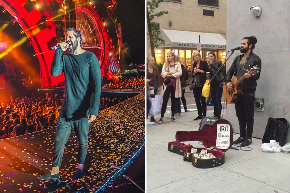 """רכיב בהופעת רחוב בניו יורק (מימין) ובפסטיבל וילה מיקס בברזיל. """"אנשים שרים איתנו את כל המילים"""" (צילום: Alisson Demitrio, Stephen Schloss )"""