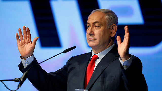 Prime Minister Netanyahu at his support rally (Photo: Reuters)