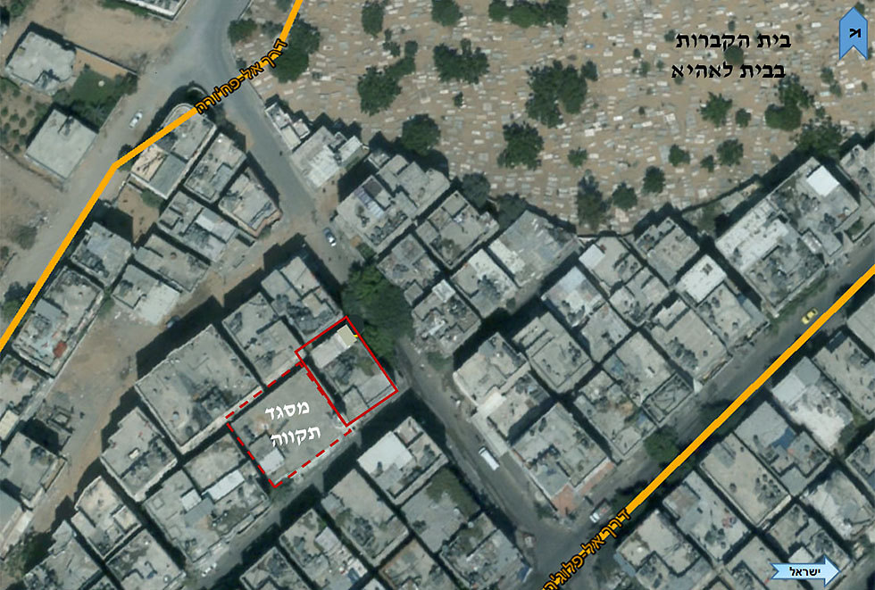 Building hilighted in red is a mosque between two Hamas tunnels (Photo: IDF Spokesperson's Unit)