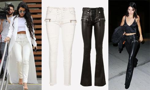 שחור או לבן: קורטני קרדשיאן ואחותה קנדל ג'נר לובשות מכנסיים של המותג Unravel לאמור (1,979 שקל לג'ינס הלבן של קורטני, אחרי הנחה, 6,700 שקל למכנסי העור השחורים של קנדל) (צילום: spalshnews, שי ניבורג)