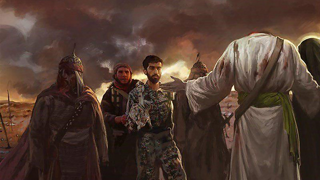 ISIS propaganda circulated on social media depicting captured Revolutionary Guards member being handed over to Imam Hussein, who has been beheaded