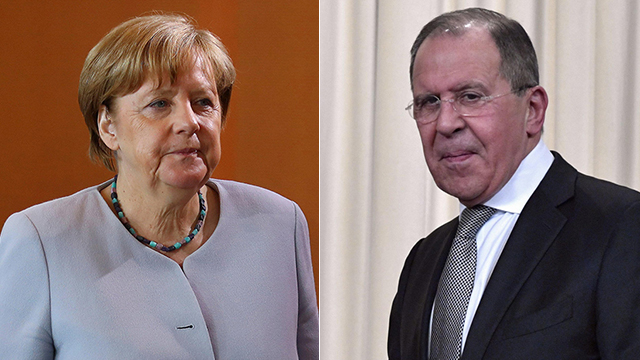 Merkel (L) and Lavrov (Photos: AFP, Reuters)