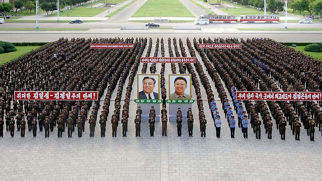 מפגן מחאה נגד הסנקציות, אתמול בפיונגיאנג (צילום: AFP)