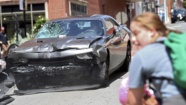 The car used in the vehicular attack Fields is accused of carrying out (Photo: AP)