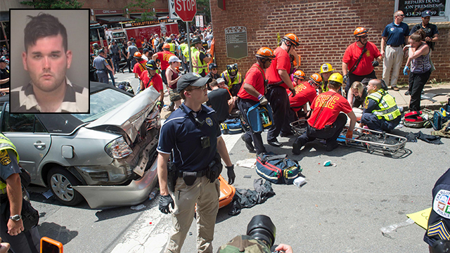 James Fields Jr. and the scene of his attack, Charlottesville (Photo: AFP)