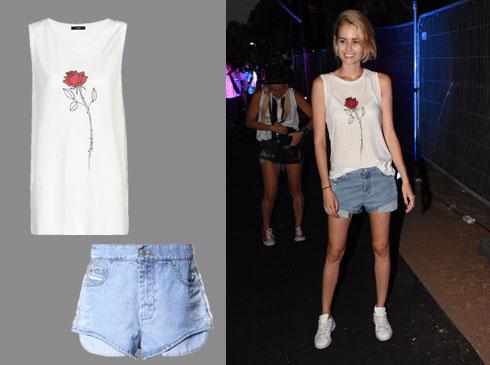 מתלבשת בחרוזים: שביט ויזל לובשת דיזל (טופ: 210 שקל, מכנסי ג'ינס: 850 שקל)  (צילום משמאל : קמילה סימון)