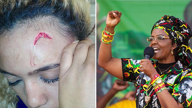מימין: גרייס מוגאבה. משמאל: הדוגמנית הפצועה ()
