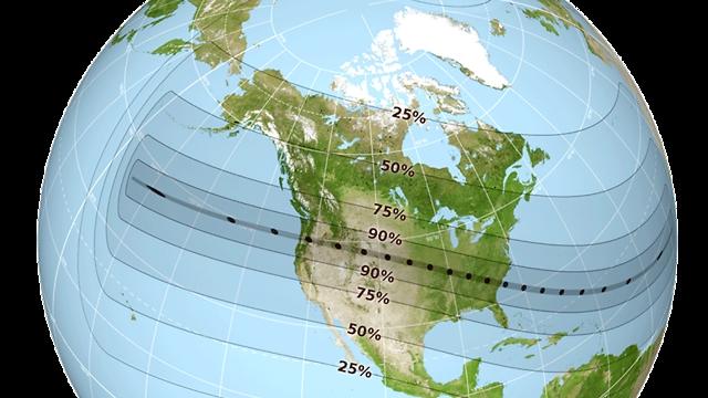 """אחוז הליקוי בצפון אמריקה (צילום: נאס""""א) (צילום: נאס"""