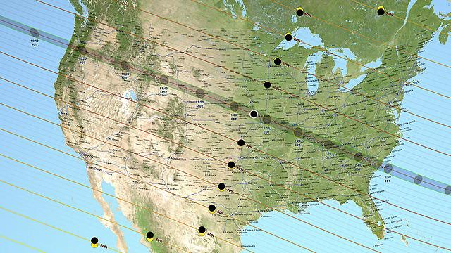 """מאורגון עד דרום קרולינה. מסלול הליקוי המלא (צילום: נאס""""א) (צילום: נאס"""