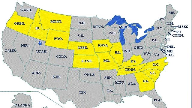 """הליקוי המלא לפי מדינות (צילום: נאס""""א) (צילום: נאס"""