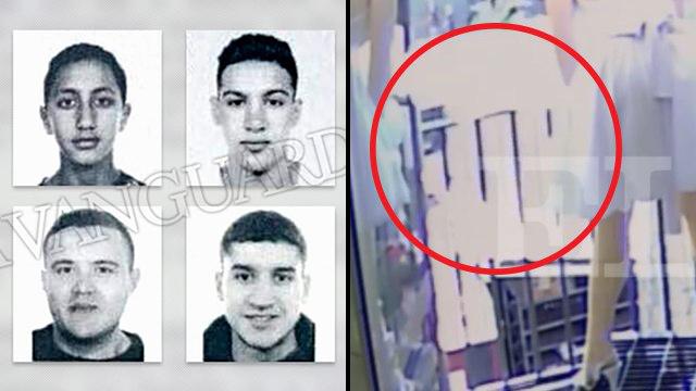 מימין: תיעוד רגעי הדריסה; משמאל: תמונות ארבעת החשודים (צילום: La Vanguardia)