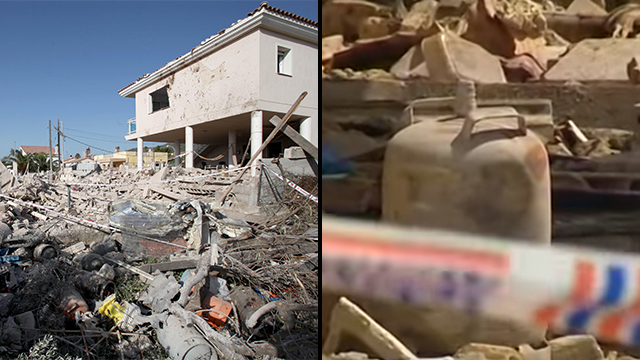 The building in Alcanar and one of the gas containers found after the explosion (Photos: EPA, Agencia Efe)