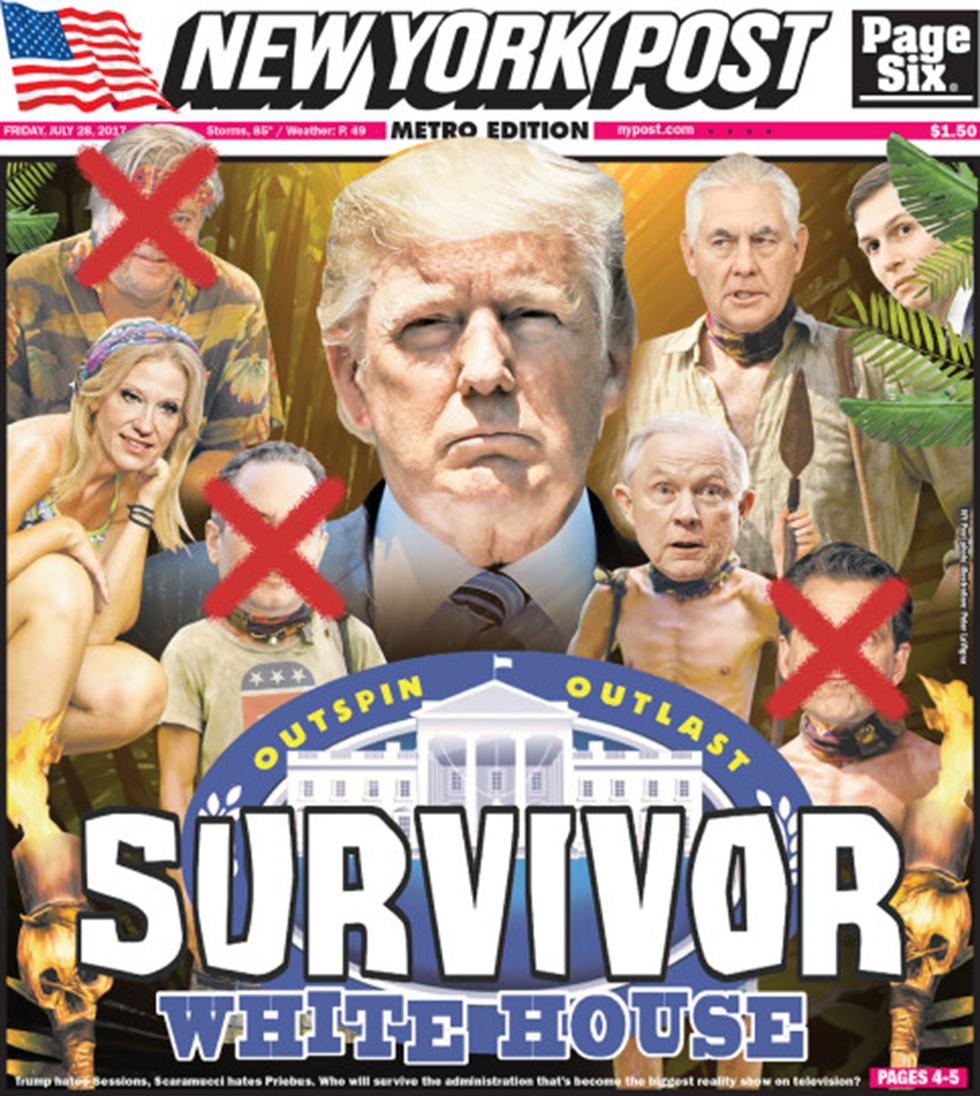 """""""הישרדות הבית הלבן"""". שער ה""""ניו יורק פוסט"""" (צילום: ניו יורק פוסט) (צילום: ניו יורק פוסט)"""