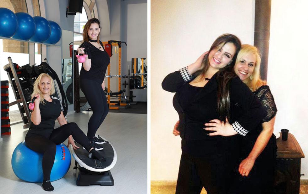 מימין: האחיות לפני הדיאטה. משמאל: בחדר הכושר שלהן, מינוס 64 קילו (צילום: אלבום פרטי, דנה קופל)