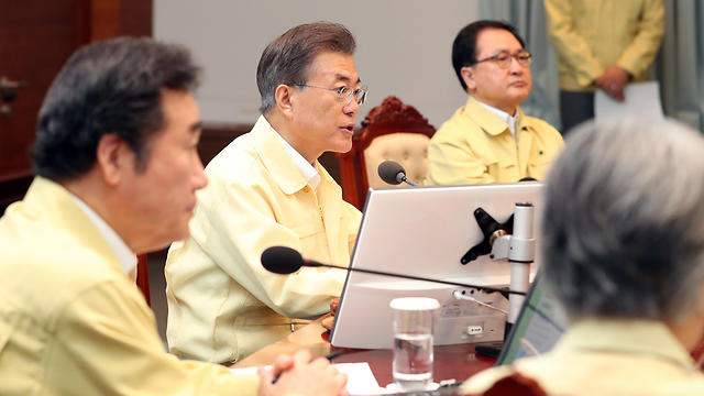 נשיא דרום קוריאה שלח מסר מרגיע (צילום: AP)