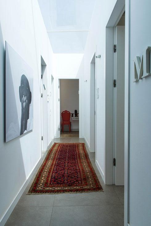 במסדרון של חדרי השינה חלון סקיי-לייט ושטיח (צילום: יוגב עמרני)