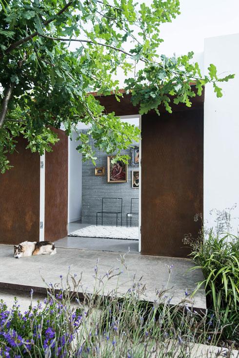 מדרגות בטון תלויות מובילות אל דלת הכניסה הרחבה (צילום: יוגב עמרני)