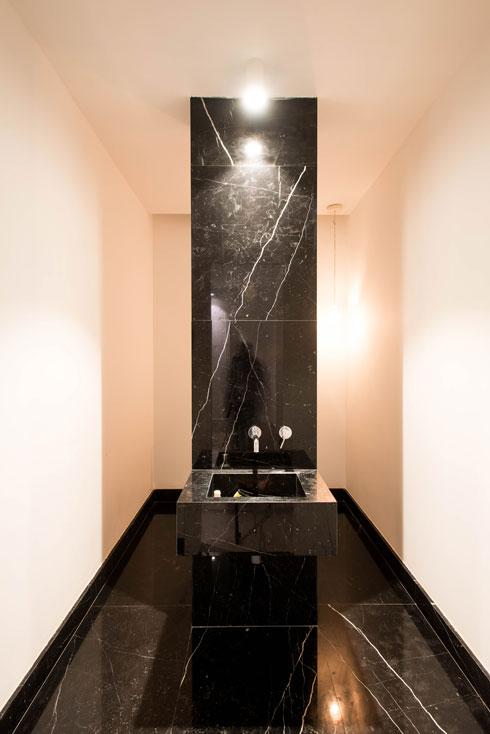 עמוד מחופה שיש מסתיר בשירותי האורחים את האסלה (צילום: יוגב עמרני)