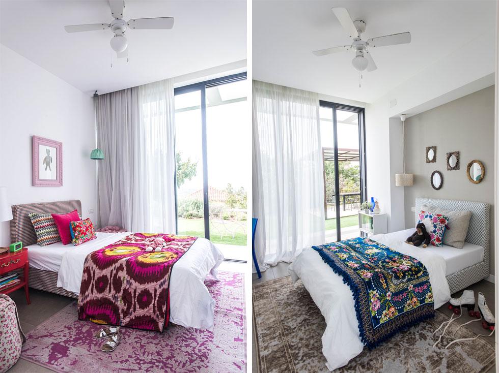 חדרי הבנות חולקים קיר משותף, ובשניהם שולבו פריטים דקורטיביים ושטיחים סלוניים (צילום: יוגב עמרני)