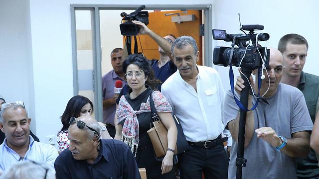 Arab MKs Hanin Zoabi and Jamal Zahalka attend the court hearing (Photo: Motti Kimchi)