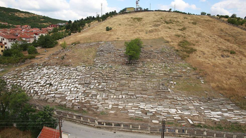 Top-down view of the Jewish cemetery in Bitola