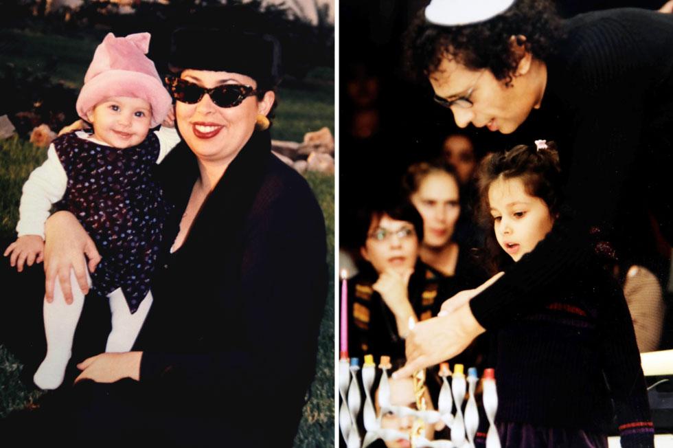 """תמונות ילדות עם האב (מימין) והאם, דיאנה צרפתי. """"כל יום יכולתי לבחור אם לישון אצל אמא או אצל אבא"""" (צילום רפרודוקציה: שאול גולן)"""