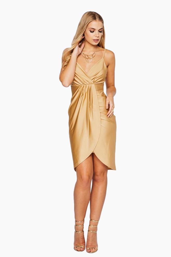 שמלת מעטפת זהובה, 159 שקל, ריל אונליין, שופינג לאשה