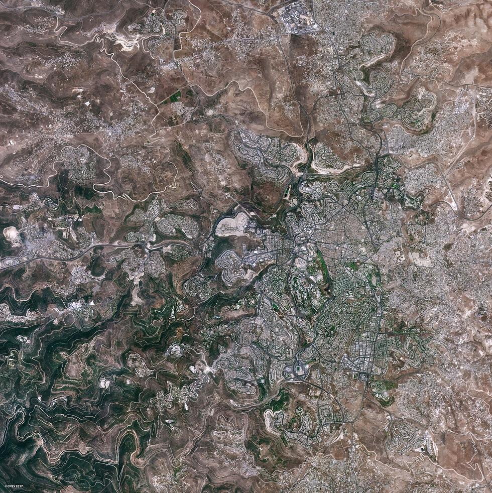 אזור ירושלים מהחלל (צילום: ונוס) (צילום: ונוס)