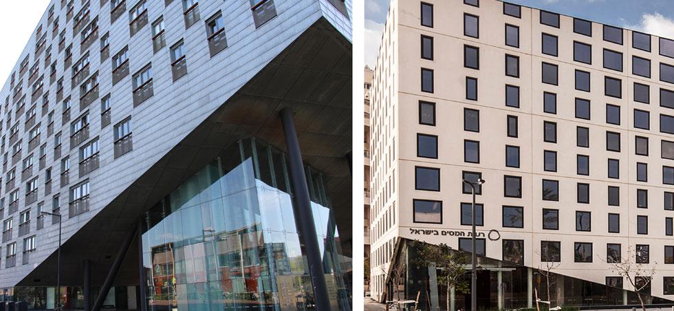 משחק החלונות: בשני הבניינים חלונות בגדלים משתנים. בבניין ההולנדי (משמאל) החלונות בהירים, וגודלם תואם לתמהיל דירות המגורים. בבניין התל אביבי החלונות כהים, ובכל משרד יש שני חלונות - העליון נפתח והתחתון רק מכניס אור  (צילום: עמית גרון, Fred Romero, cc)